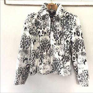 Giancarlo Ferrari Snow Leopard Faux Fur Jacket